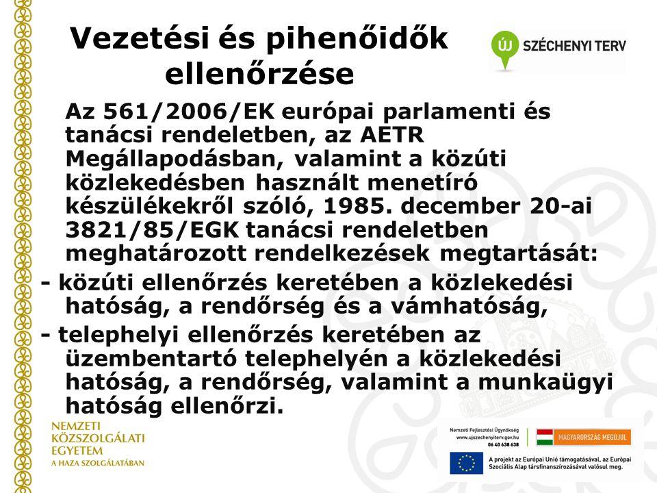 Vezetési és pihenőidők ellenőrzése Az 561/2006/EK európai parlamenti és tanácsi rendeletben, az AETR Megállapodásban, valamint a közúti közlekedésben használt menetíró készülékekről szóló, 1985.