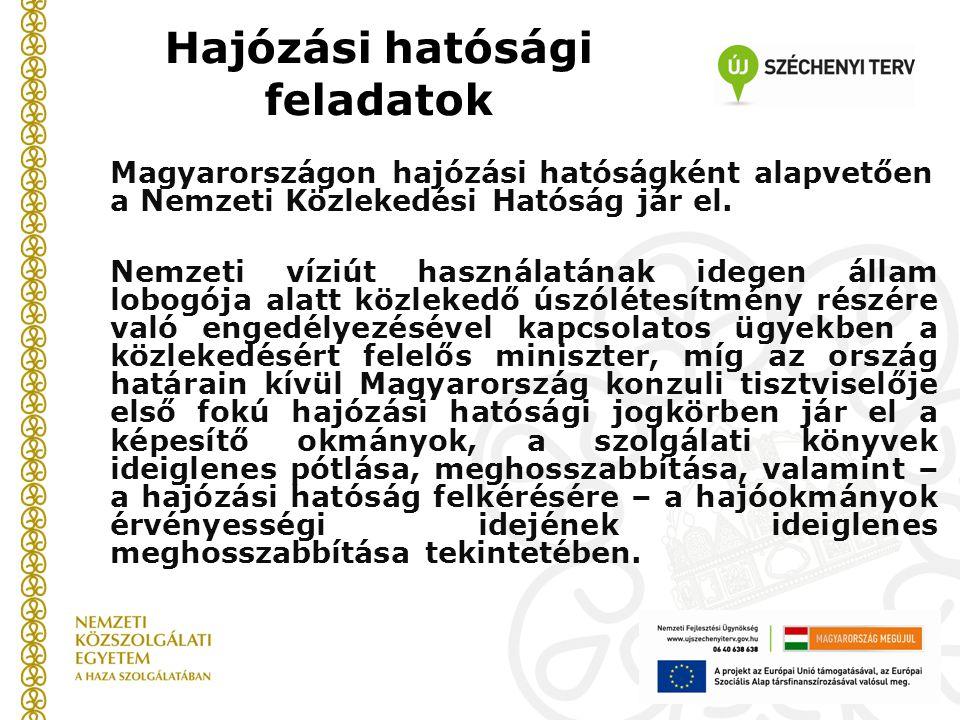 Hajózási hatósági feladatok Magyarországon hajózási hatóságként alapvetően a Nemzeti Közlekedési Hatóság jár el. Nemzeti víziút használatának idegen á