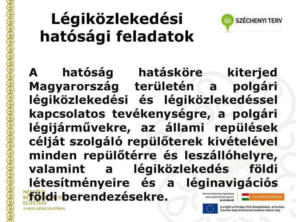 Légiközlekedési hatósági feladatok A hatóság hatásköre kiterjed Magyarország területén a polgári légiközlekedési és légiközlekedéssel kapcsolatos tevékenységre, a polgári légijárművekre, az állami repülések célját szolgáló repülőterek kivételével minden repülőtérre és leszállóhelyre, valamint a légiközlekedés földi létesítményeire és a léginavigációs földi berendezésekre.