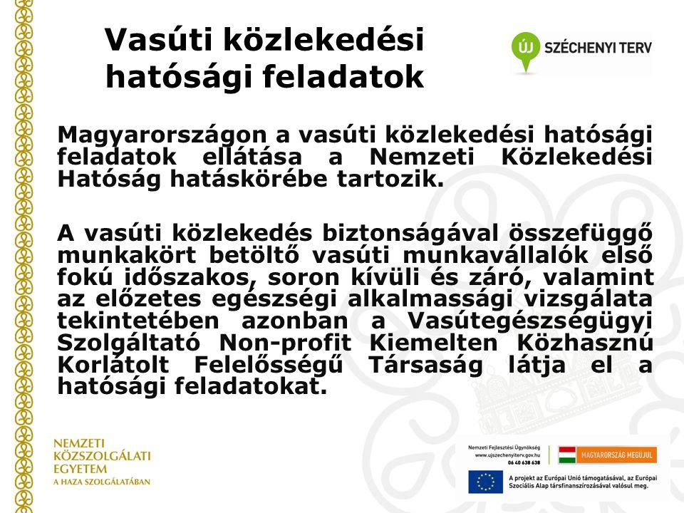 Vasúti közlekedési hatósági feladatok Magyarországon a vasúti közlekedési hatósági feladatok ellátása a Nemzeti Közlekedési Hatóság hatáskörébe tartozik.