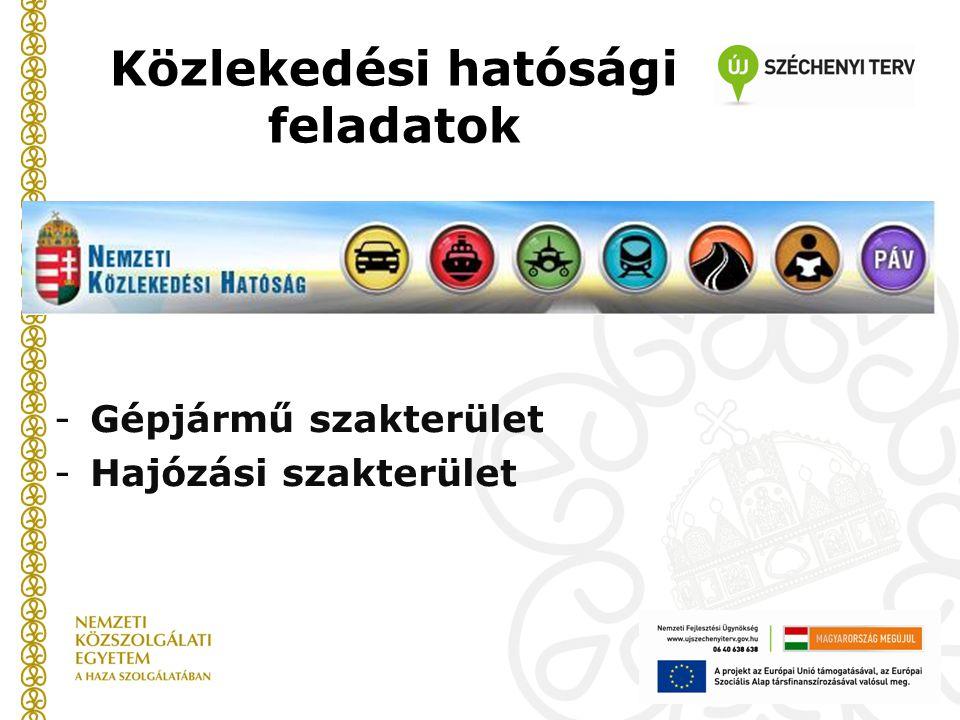 Közlekedési hatósági feladatok -Gépjármű szakterület -Hajózási szakterület