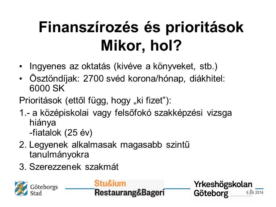 6 juli 2014 Finanszírozés és prioritások Mikor, hol.