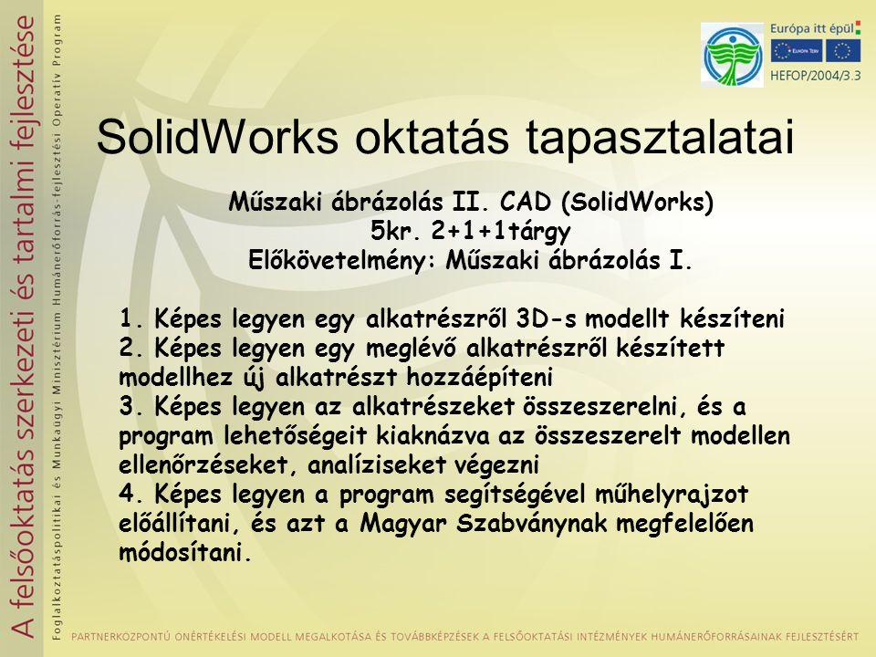 SolidWorks oktatás tapasztalatai Műszaki ábrázolás II.