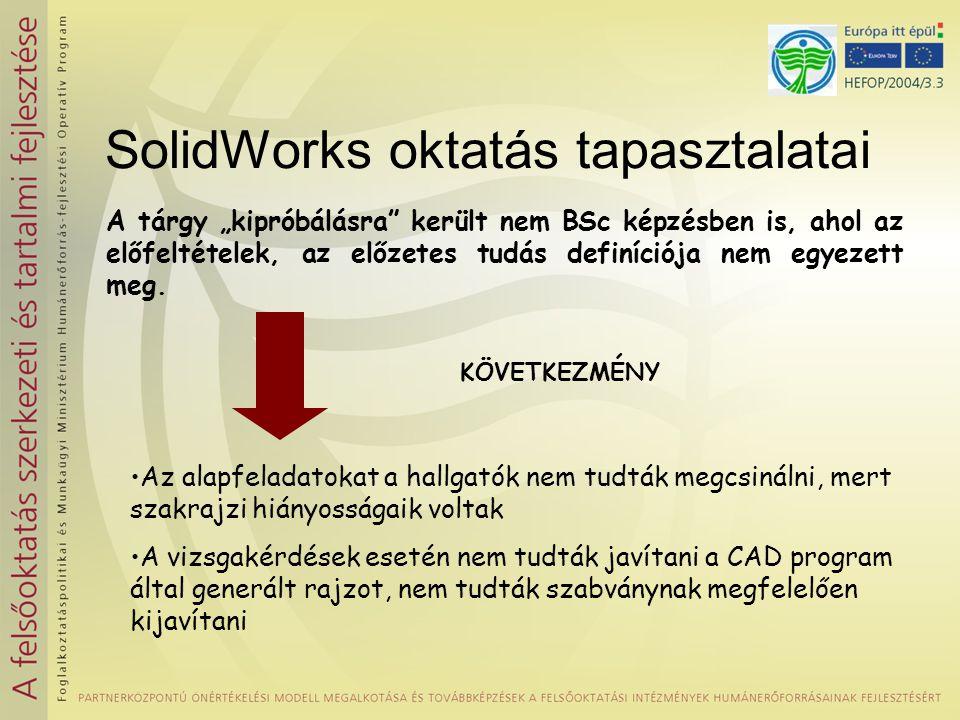 """SolidWorks oktatás tapasztalatai A tárgy """"kipróbálásra került nem BSc képzésben is, ahol az előfeltételek, az előzetes tudás definíciója nem egyezett meg."""