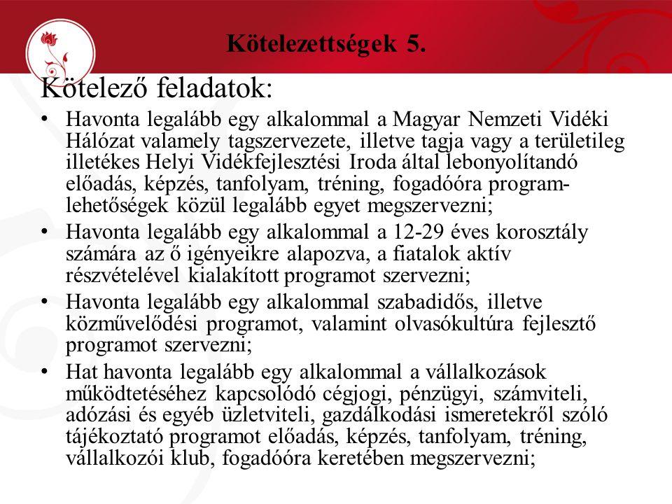 Kötelezettségek 5. Kötelező feladatok: • Havonta legalább egy alkalommal a Magyar Nemzeti Vidéki Hálózat valamely tagszervezete, illetve tagja vagy a