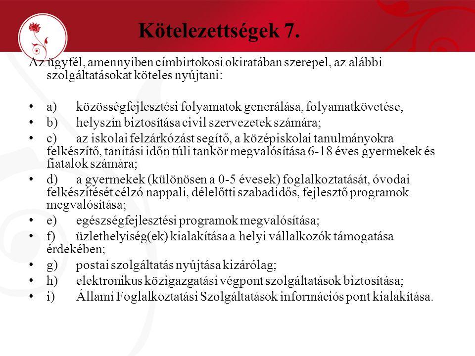 Kötelezettségek 7. Az ügyfél, amennyiben címbirtokosi okiratában szerepel, az alábbi szolgáltatásokat köteles nyújtani: • a)közösségfejlesztési folyam