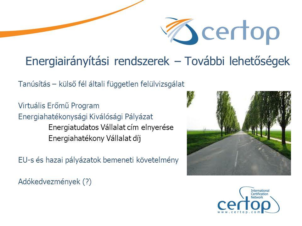 Energiairányítási rendszerek – További lehetőségek Tanúsítás – külső fél általi független felülvizsgálat Virtuális Erőmű Program Energiahatékonysági K