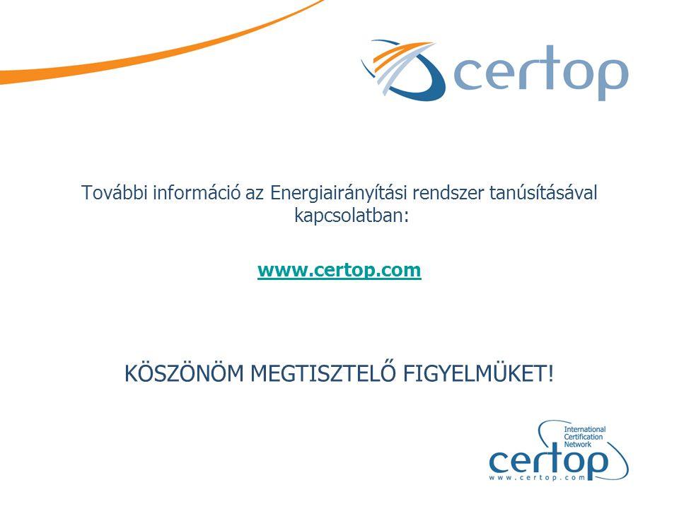 További információ az Energiairányítási rendszer tanúsításával kapcsolatban: www.certop.com KÖSZÖNÖM MEGTISZTELŐ FIGYELMÜKET!