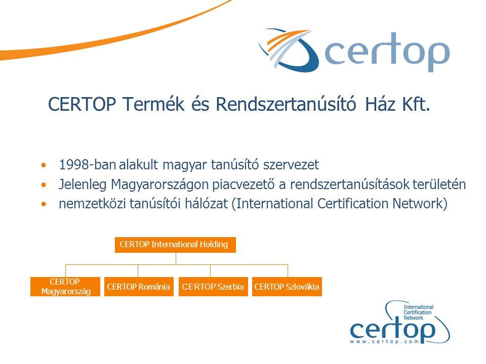 CERTOP Termék és Rendszertanúsító Ház Kft. •1998-ban alakult magyar tanúsító szervezet •Jelenleg Magyarországon piacvezető a rendszertanúsítások terül