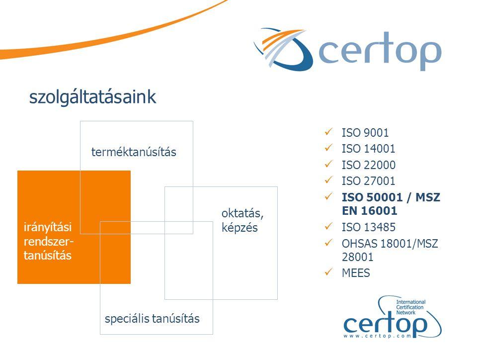 szolgáltatásaink  ISO 9001  ISO 14001  ISO 22000  ISO 27001  ISO 50001 / MSZ EN 16001  ISO 13485  OHSAS 18001/MSZ 28001  MEES terméktanúsítás