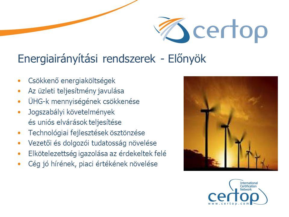 Energiairányítási rendszerek - Előnyök •Csökkenő energiaköltségek •Az üzleti teljesítmény javulása •ÜHG-k mennyiségének csökkenése •Jogszabályi követe