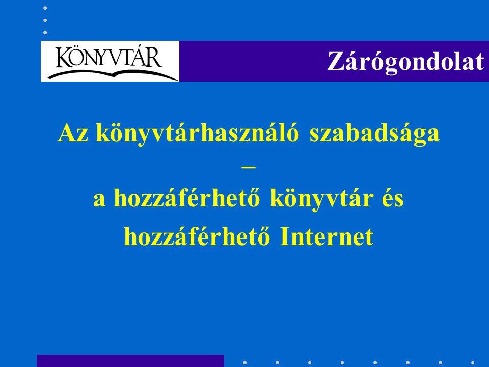 Az könyvtárhasználó szabadsága – a hozzáférhető könyvtár és hozzáférhető Internet Zárógondolat