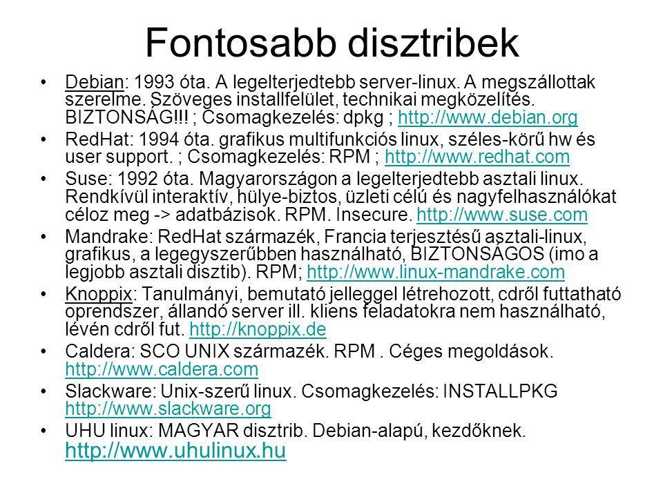 Fontosabb disztribek •Debian: 1993 óta. A legelterjedtebb server-linux. A megszállottak szerelme. Szöveges installfelület, technikai megközelítés. BIZ