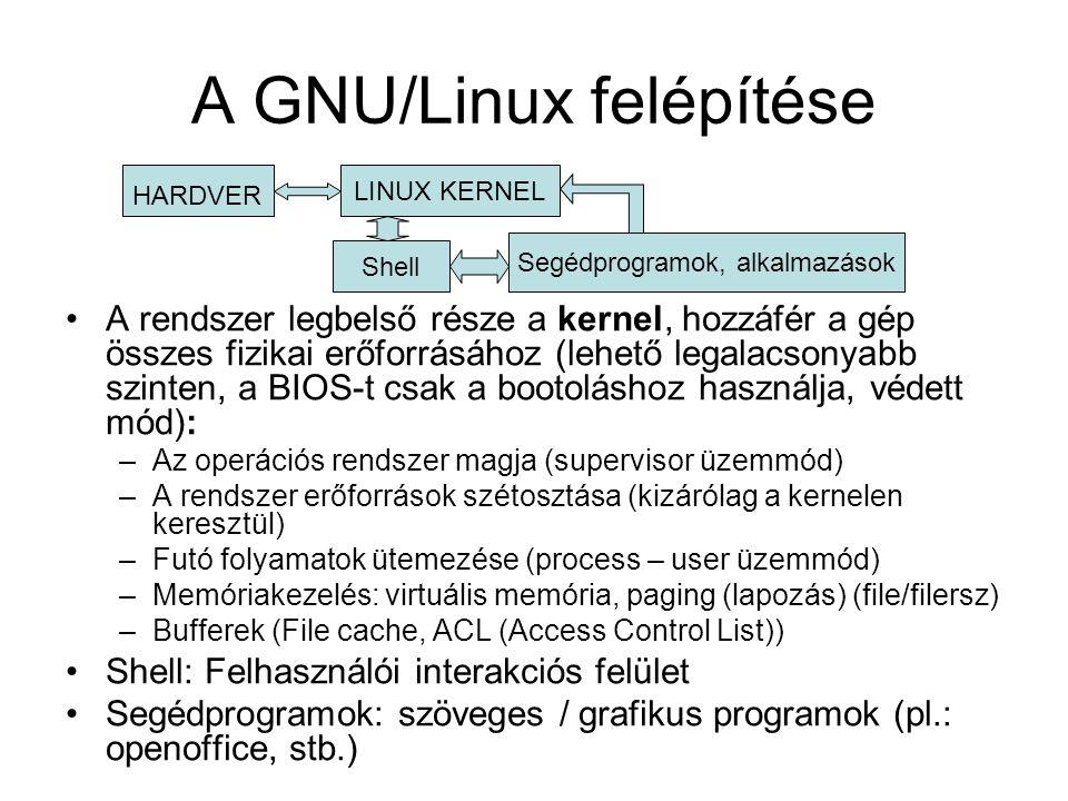 A GNU/Linux felépítése •A rendszer legbelső része a kernel, hozzáfér a gép összes fizikai erőforrásához (lehető legalacsonyabb szinten, a BIOS-t csak