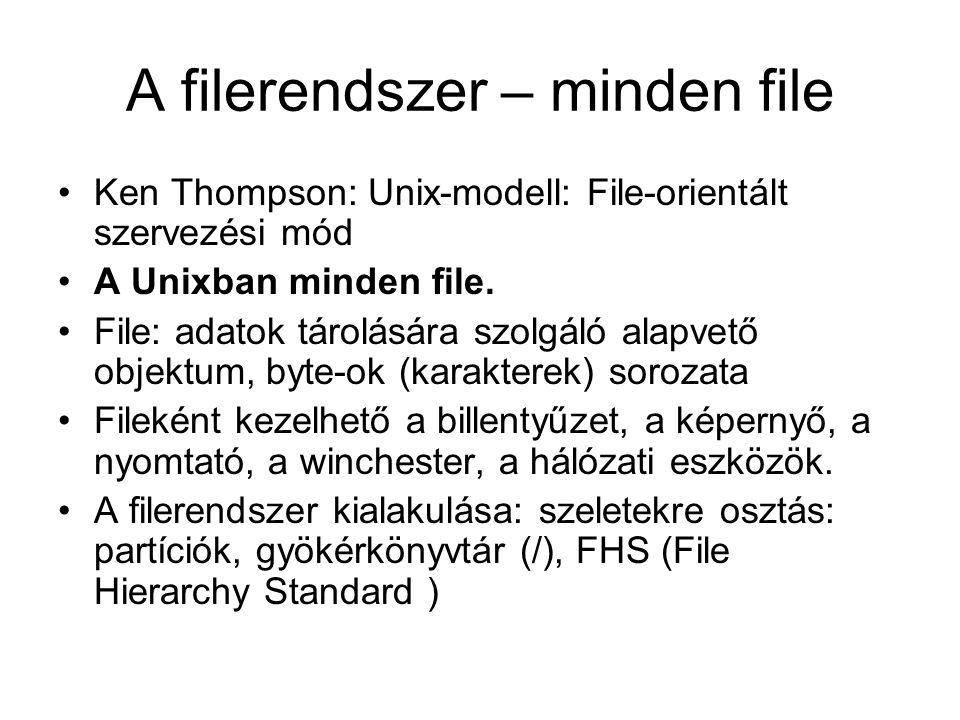 A filerendszer – minden file •Ken Thompson: Unix-modell: File-orientált szervezési mód •A Unixban minden file. •File: adatok tárolására szolgáló alapv