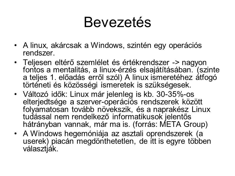 Bevezetés •A linux, akárcsak a Windows, szintén egy operációs rendszer. •Teljesen eltérő szemlélet és értékrendszer -> nagyon fontos a mentalitás, a l