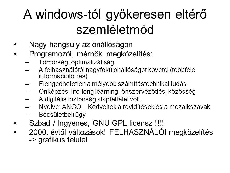 A windows-tól gyökeresen eltérő szemléletmód •Nagy hangsúly az önállóságon •Programozói, mérnöki megközelítés: –Tömörség, optimalizáltság –A felhaszná