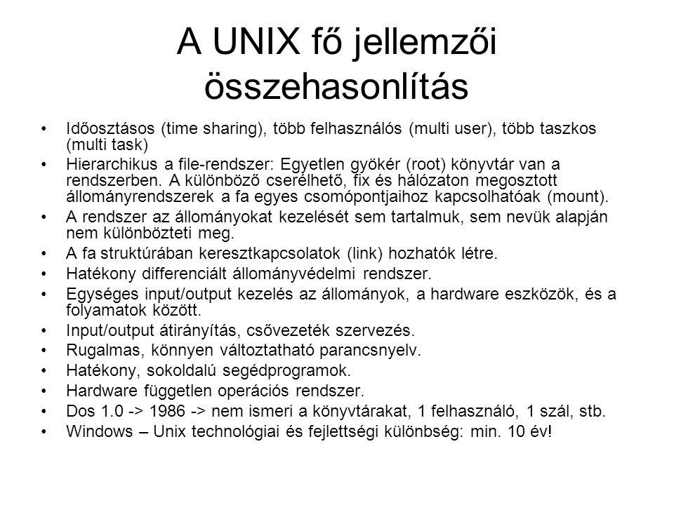 A UNIX fő jellemzői összehasonlítás •Időosztásos (time sharing), több felhasználós (multi user), több taszkos (multi task) •Hierarchikus a file-rendsz
