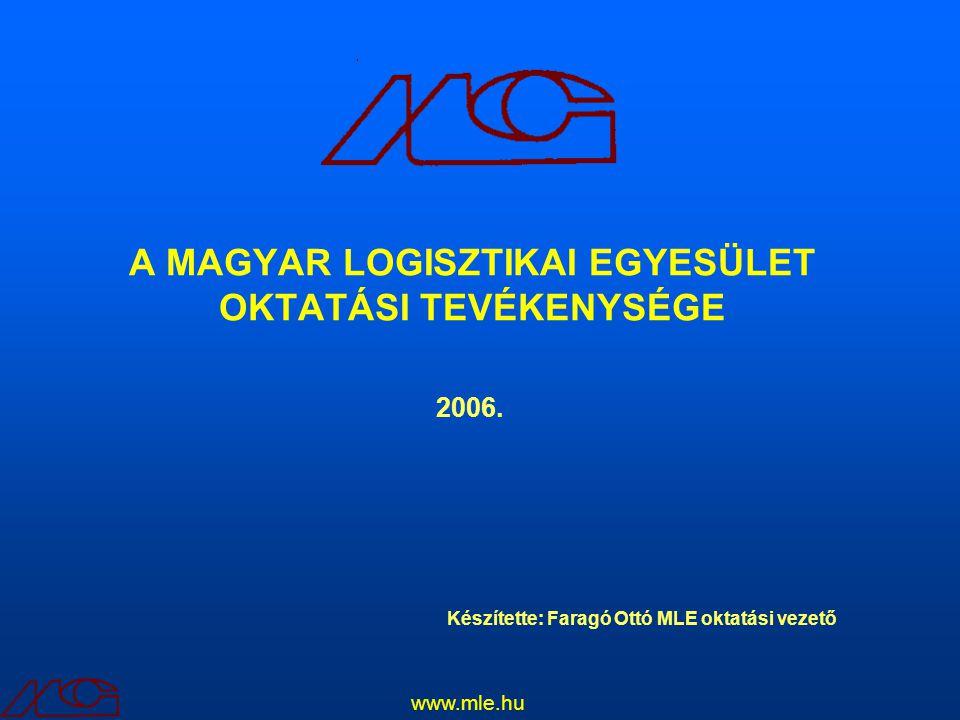 A MAGYAR LOGISZTIKAI EGYESÜLET OKTATÁSI TEVÉKENYSÉGE www.mle.hu Készítette: Faragó Ottó MLE oktatási vezető 2006.