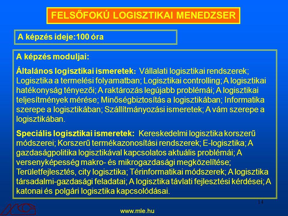 14 A képzés ideje:100 óra FELSŐFOKÚ LOGISZTIKAI MENEDZSER A képzés moduljai: Általános logisztikai ismeretek : Vállalati logisztikai rendszerek; Logis