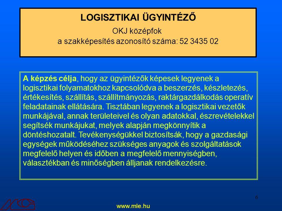 6 LOGISZTIKAI ÜGYINTÉZŐ OKJ középfok a szakképesítés azonosító száma: 52 3435 02 A képzés célja, hogy az ügyintézők képesek legyenek a logisztikai fol