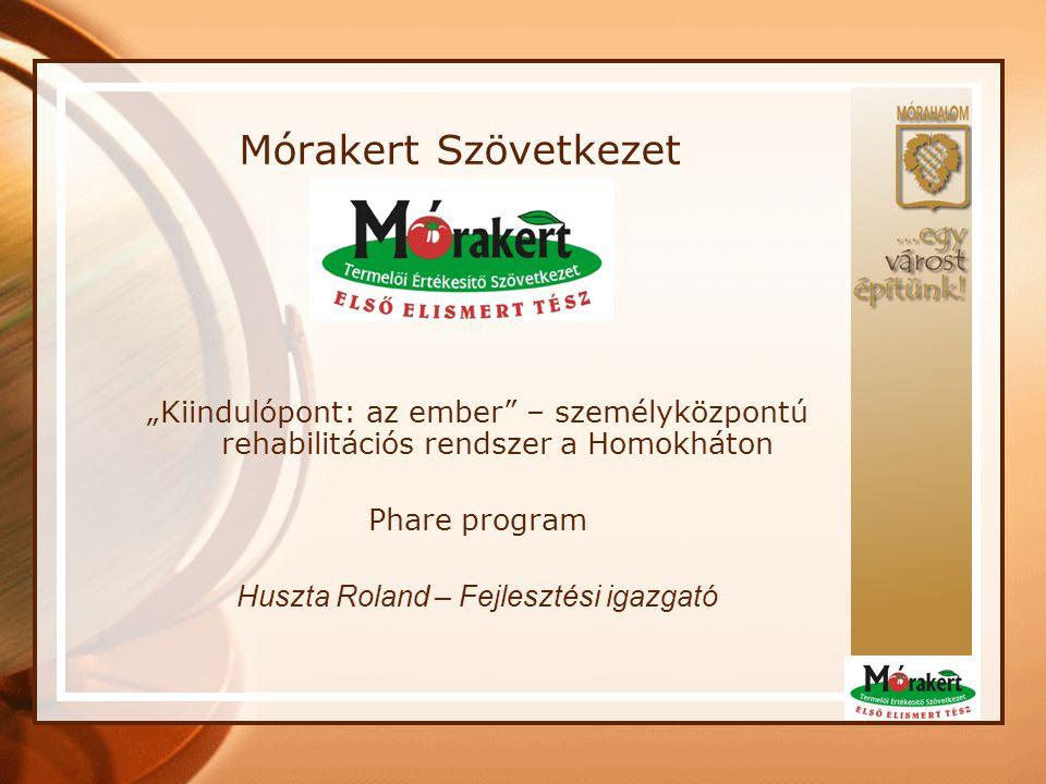 """Mórakert Szövetkezet """"Kiindulópont: az ember"""" – személyközpontú rehabilitációs rendszer a Homokháton Phare program Huszta Roland – Fejlesztési igazgat"""