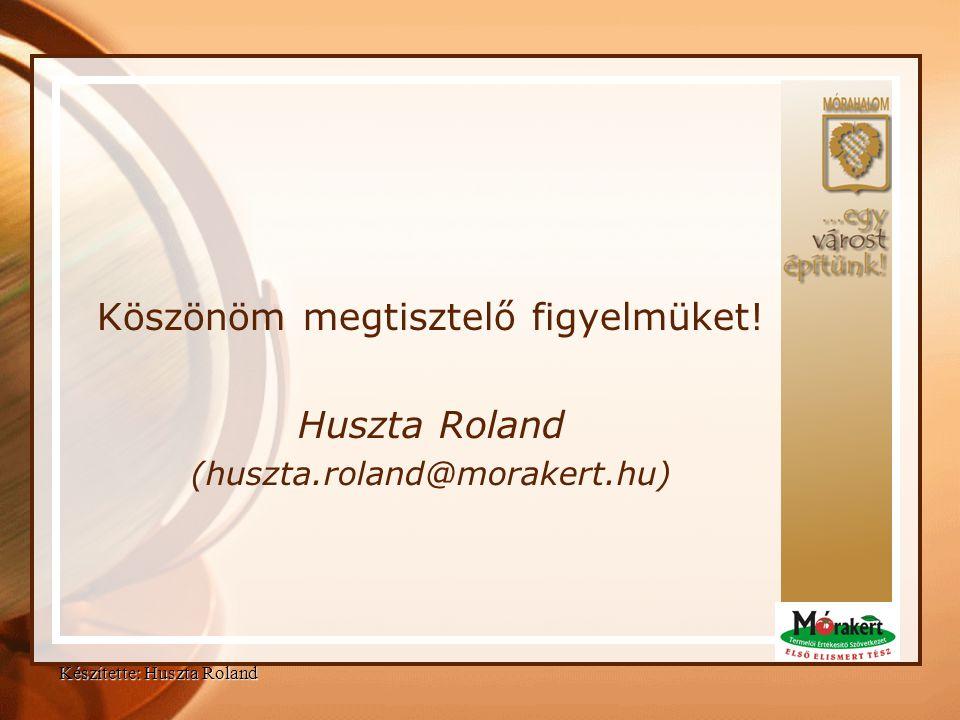 Köszönöm megtisztelő figyelmüket! Huszta Roland (huszta.roland@morakert.hu) Készítette: Huszta Roland