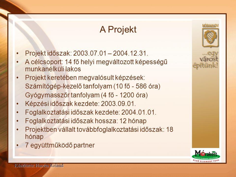 Projekt célja Átfogó célok: •Egyénközpontú szolgáltatási struktúra kialakítása •Hátrányos helyzetű célcsoport rehabilitálása •Egyén fejlesztése Konkrét célok: •14 fő képzése (informatikai és gyógymasszőr) •Szolgáltatási rendszer kialakítása(Eszköz- beszerzések) •Képzettségnek megfelelő fogalkoztatás a munkaerőpiacon Készítette: Huszta Roland
