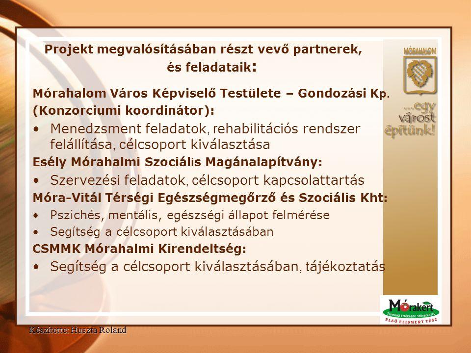 Projekt megvalósításában részt vevő partnerek, és feladataik : Mórahalom Város Képviselő Testülete – Gondozási K p. (Konzorciumi koordinátor): •Menedz