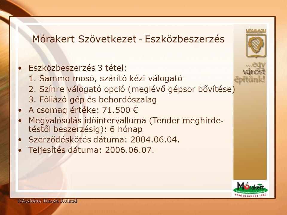 Készítette: Huszta Roland Mórakert Szövetkezet - Eszközbeszerzés •Eszközbeszerzés 3 tétel: 1. Sammo mosó, szárító kézi válogató 2. Színre válogató opc