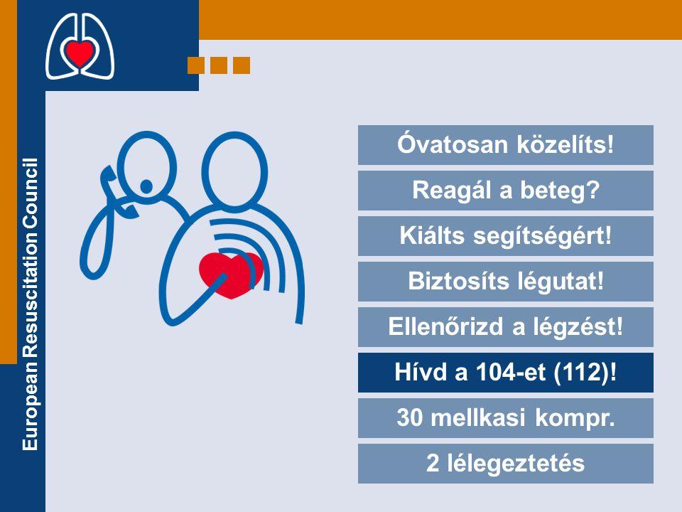 European Resuscitation Council Óvatosan közelíts! Reagál a beteg? Kiálts segítségért! Biztosíts légutat! Ellenőrizd a légzést! Hívd a 104-et (112)! 30