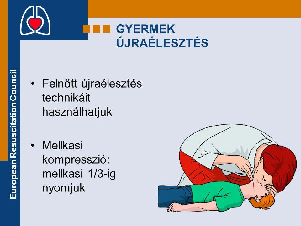 European Resuscitation Council GYERMEK ÚJRAÉLESZTÉS •Felnőtt újraélesztés technikáit használhatjuk •Mellkasi kompresszió: mellkasi 1/3-ig nyomjuk