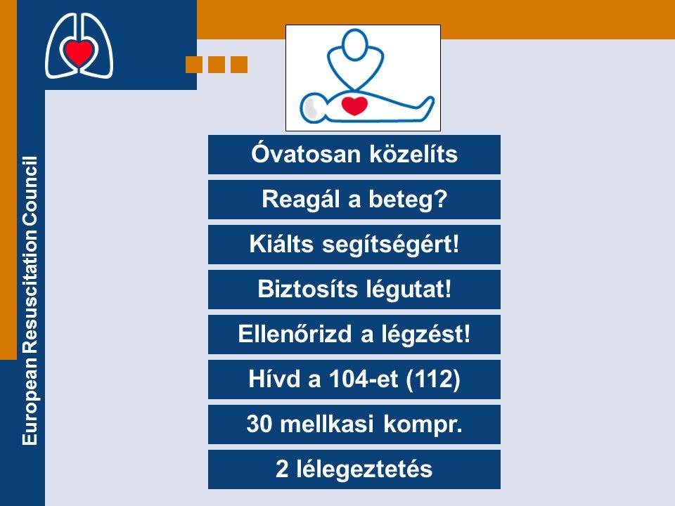 European Resuscitation Council Óvatosan közelíts Reagál a beteg? Kiálts segítségért! Biztosíts légutat! Ellenőrizd a légzést! Hívd a 104-et (112) 30 m