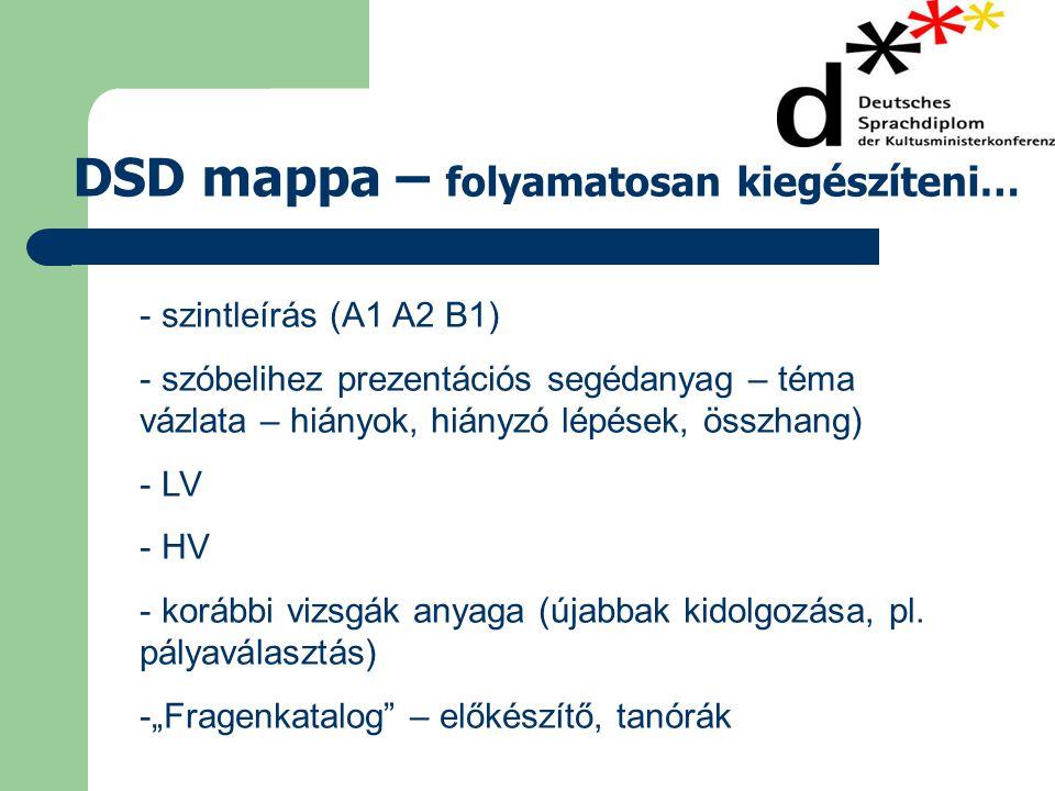 DSD mappa – folyamatosan kiegészíteni… - szintleírás (A1 A2 B1) - szóbelihez prezentációs segédanyag – téma vázlata – hiányok, hiányzó lépések, összhang) - LV - HV - korábbi vizsgák anyaga (újabbak kidolgozása, pl.