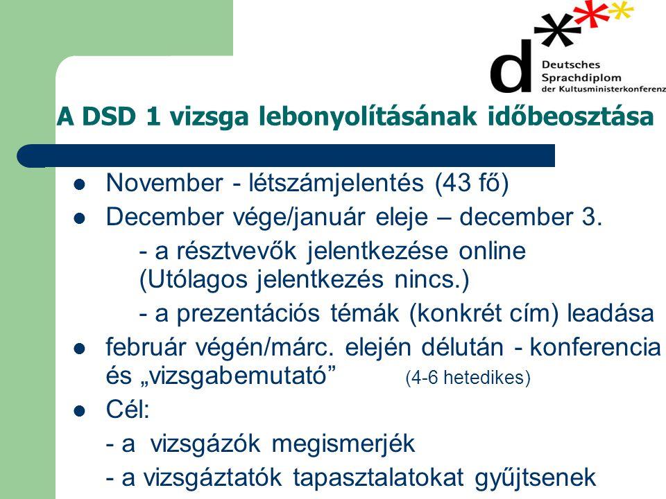A DSD 1 vizsga lebonyolításának időbeosztása  November - létszámjelentés (43 fő)  December vége/január eleje – december 3.