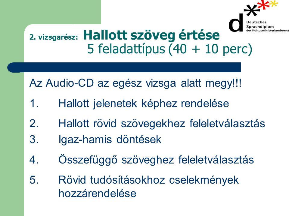 2. vizsgarész: Hallott szöveg értése 5 feladattípus (40 + 10 perc) Az Audio-CD az egész vizsga alatt megy!!! 1. Hallott jelenetek képhez rendelése 2.