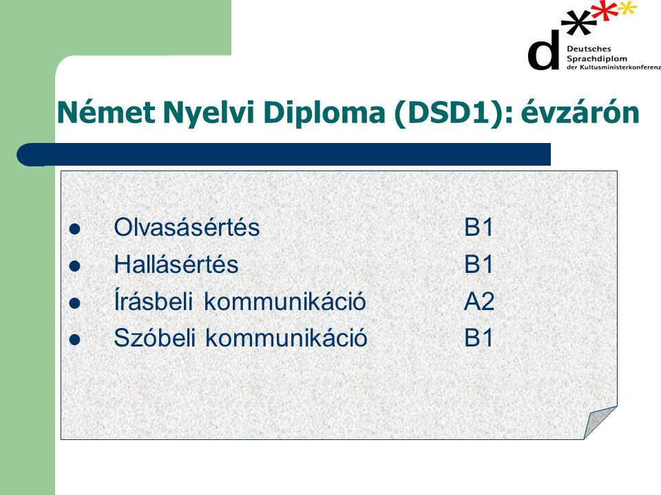 Német Nyelvi Diploma (DSD1): évzárón  OlvasásértésB1  HallásértésB1  Írásbeli kommunikációA2  Szóbeli kommunikációB1