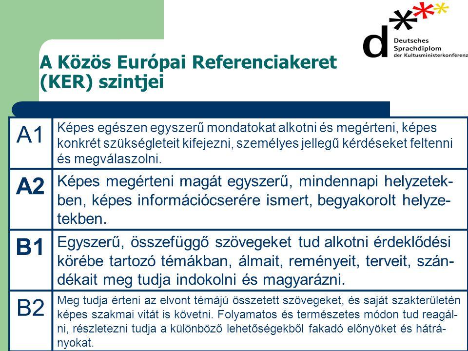 A Közös Európai Referenciakeret (KER) szintjei A1 Képes egészen egyszerű mondatokat alkotni és megérteni, képes konkrét szükségleteit kifejezni, személyes jellegű kérdéseket feltenni és megválaszolni.