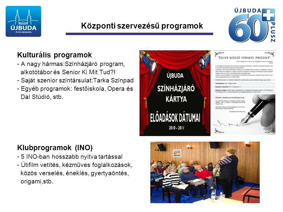 Központi szervezésű programok Kulturális programok - A nagy hármas:Színházjáró program, alkotótábor és Senior Ki Mit Tud?.