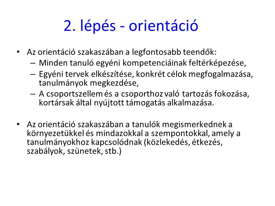 2. lépés - orientáció • Az orientáció szakaszában a legfontosabb teendők: – Minden tanuló egyéni kompetenciáinak feltérképezése, – Egyéni tervek elkés