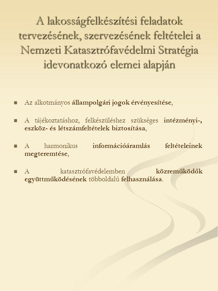 A lakosságfelkészítési feladatok tervezésének, szervezésének feltételei a Nemzeti Katasztrófavédelmi Stratégia idevonatkozó elemei alapján   Az alkotmányos állampolgári jogok érvényesítése,   A tájékoztatáshoz, felkészüléshez szükséges intézményi-, eszköz- és létszámfeltételek biztosítása,   A harmonikus információáramlás feltételeinek megteremtése,   A katasztrófavédelemben közreműködők együttműködésének többoldalú felhasználása.