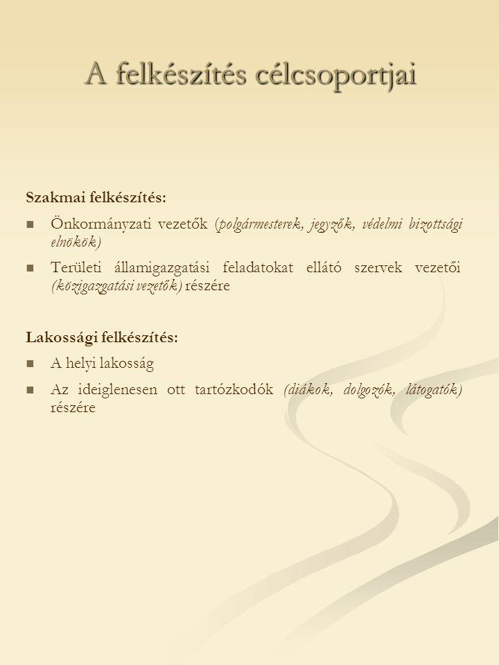 A felkészítés célcsoportjai Szakmai felkészítés:   Önkormányzati vezetők (polgármesterek, jegyzők, védelmi bizottsági elnökök)   Területi államigazgatási feladatokat ellátó szervek vezetői (közigazgatási vezetők) részére Lakossági felkészítés:   A helyi lakosság   Az ideiglenesen ott tartózkodók (diákok, dolgozók, látogatók) részére