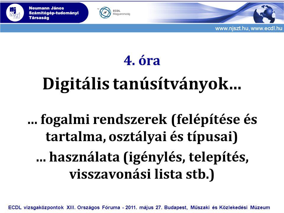 www.njszt.hu, www.ecdl.hu 4. óra Digitális tanúsítványok… … fogalmi rendszerek (felépítése és tartalma, osztályai és típusai) … használata (igénylés,