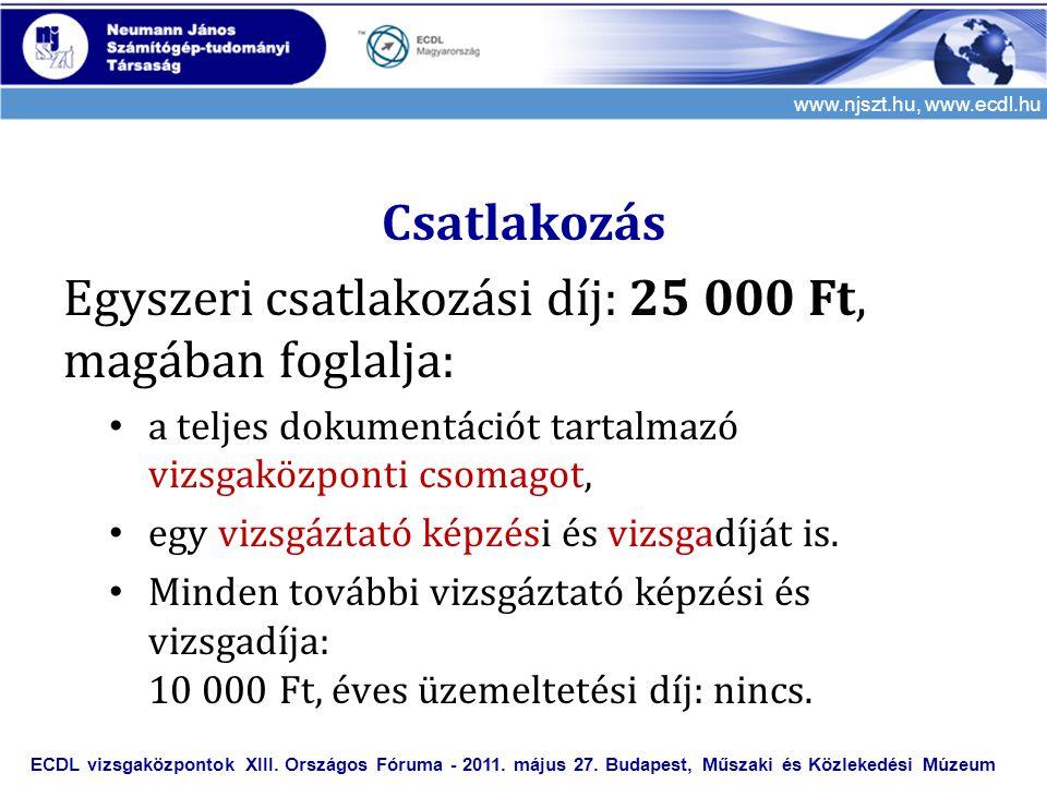 www.njszt.hu, www.ecdl.hu Csatlakozás Egyszeri csatlakozási díj: 25 000 Ft, magában foglalja: • a teljes dokumentációt tartalmazó vizsgaközponti csomagot, • egy vizsgáztató képzési és vizsgadíját is.