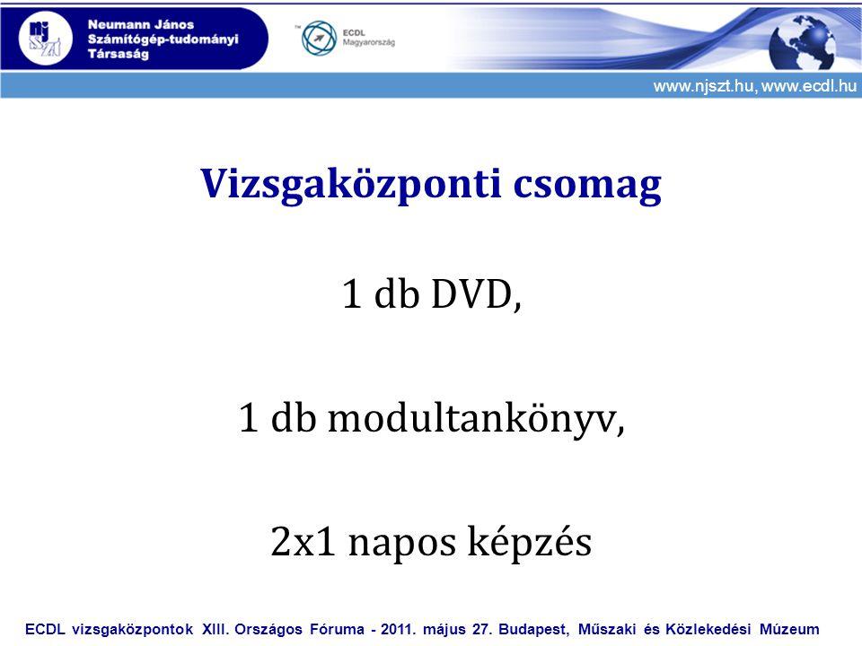 www.njszt.hu, www.ecdl.hu Vizsgaközponti csomag 1 db DVD, 1 db modultankönyv, 2x1 napos képzés ECDL vizsgaközpontok XIII. Országos Fóruma - 2011. máju