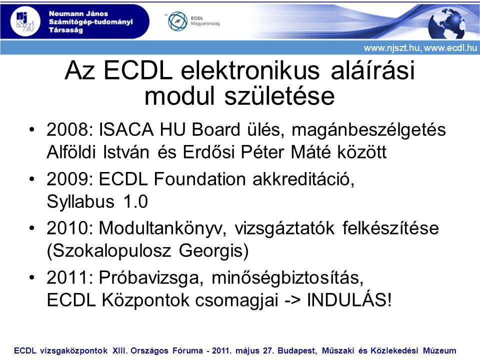 www.njszt.hu, www.ecdl.hu •2008: ISACA HU Board ülés, magánbeszélgetés Alföldi István és Erdősi Péter Máté között •2009: ECDL Foundation akkreditáció, Syllabus 1.0 •2010: Modultankönyv, vizsgáztatók felkészítése (Szokalopulosz Georgis) •2011: Próbavizsga, minőségbiztosítás, ECDL Központok csomagjai -> INDULÁS.