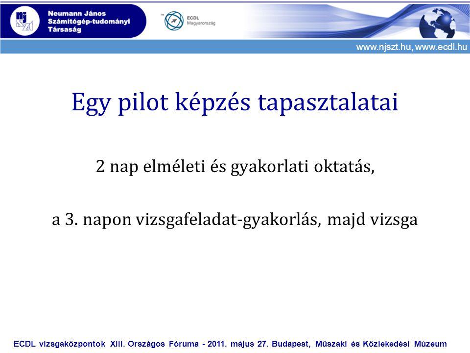 www.njszt.hu, www.ecdl.hu Egy pilot képzés tapasztalatai 2 nap elméleti és gyakorlati oktatás, a 3. napon vizsgafeladat-gyakorlás, majd vizsga ECDL vi