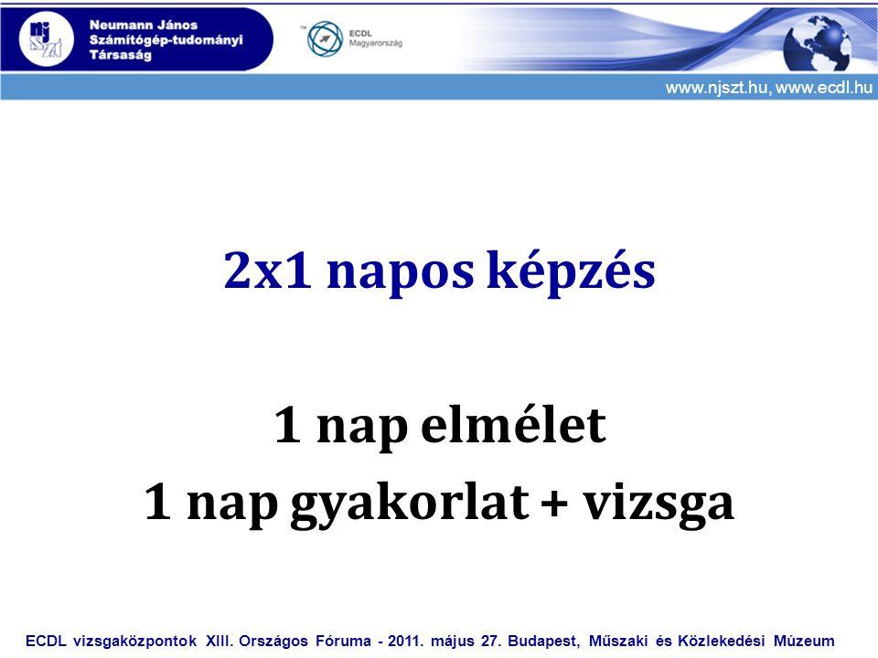 www.njszt.hu, www.ecdl.hu 2x1 napos képzés 1 nap elmélet 1 nap gyakorlat + vizsga ECDL vizsgaközpontok XIII. Országos Fóruma - 2011. május 27. Budapes