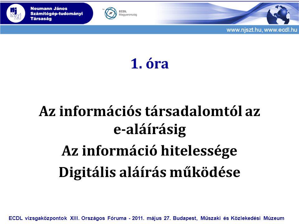 www.njszt.hu, www.ecdl.hu 1. óra Az információs társadalomtól az e-aláírásig Az információ hitelessége Digitális aláírás működése ECDL vizsgaközpontok