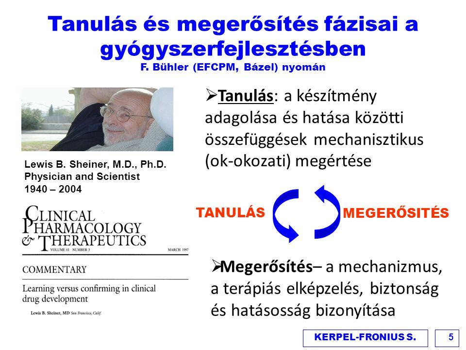 Lewis B. Sheiner, M.D., Ph.D. Physician and Scientist 1940 – 2004  Tanulás: a készítmény adagolása és hatása közötti összefüggések mechanisztikus (ok
